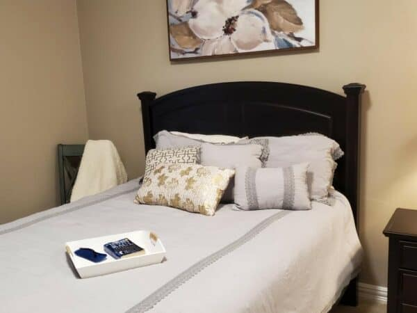 Staged bedroom for senior living facility in Plano, Texas.