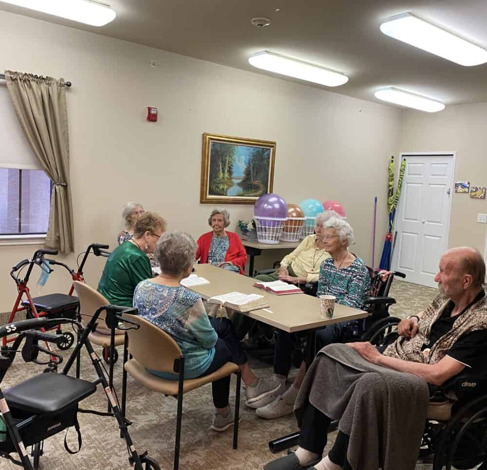 group of seniors during a bible study session