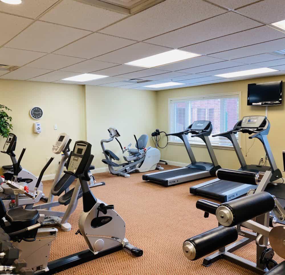 Fitness center inside the senior living community includes eight machines in Cincinnati, Ohio.