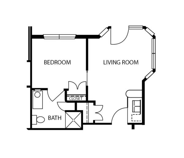 One-bedroom apartment floorplan with living room, bathroom and kitchenette at a senior living community in Stephenville, Texas.