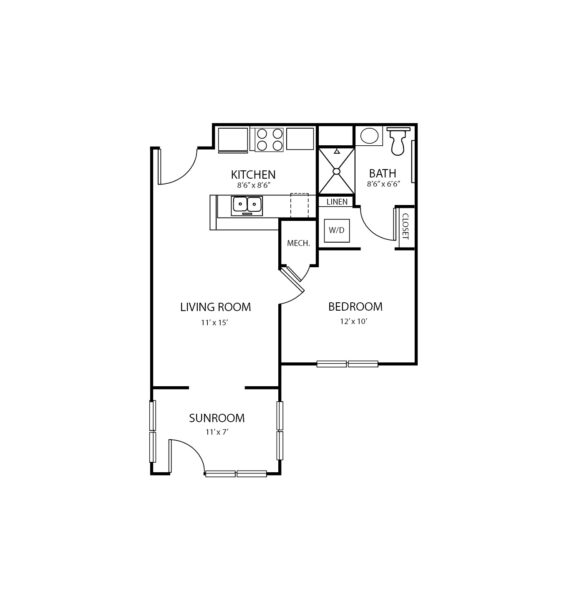 One-bedroom apartment floorplan with living room, bathroom, kitchen and sunroom at a senior living community in Columbus, North Carolina.