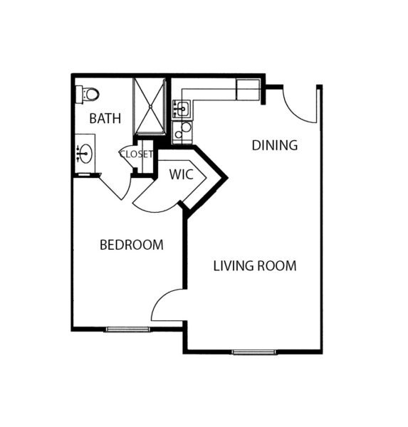 One-bedroom apartment floorplan with living room, bathroom and kitchenette at a senior living community in Fairfield, Ohio.
