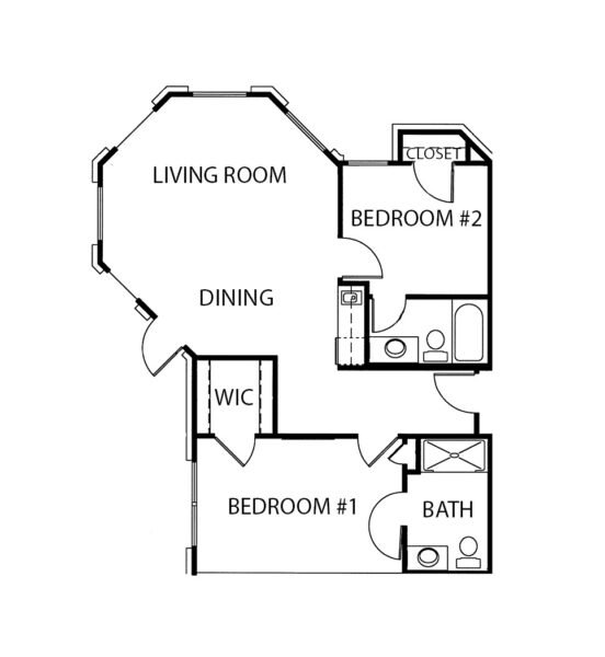 Two-bedroom apartment floorplan with living room, two bathrooms and kitchenette at a senior living community in Mesquite, Texas.