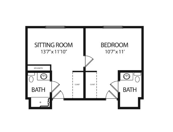 One-bedroom apartment floorplan with living room, two bathrooms and kitchenette at a senior living community in Virginia Beach, Virginia.