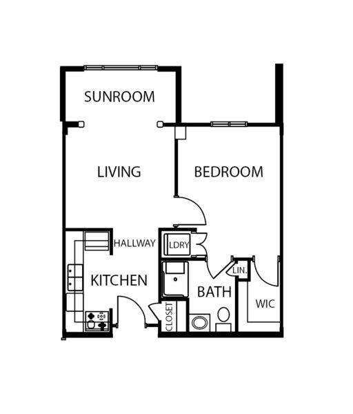 One-bedroom apartment floorplan with living room, bathroom, sunroom and kitchen at a senior living community in Cincinnati, Ohio.