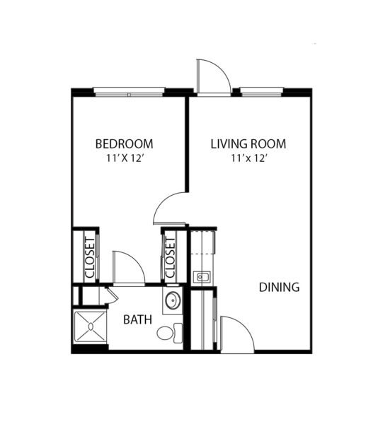 One-bedroom apartment floorplan with living room, bathroom and kitchenette at a senior living community in North Richland Hills, Texas.