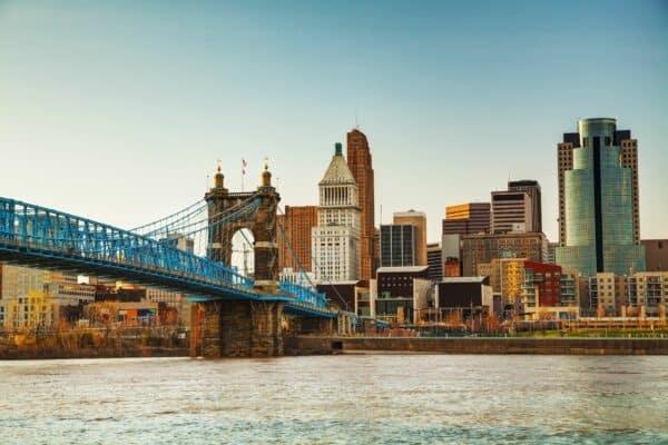 Cincinnati downtown overview in the evening.