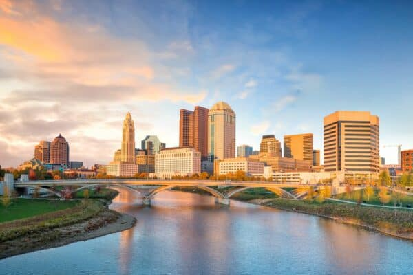 View of downtown Columbus, Ohio Skyline at Sunset