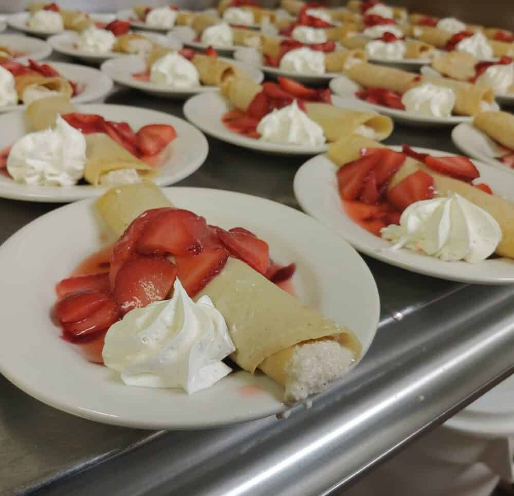 Crepes with strawberries and whipped cream at the Waterford at a senior living community in Springfield, Missouri.