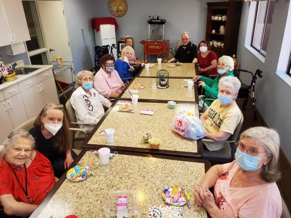 Group of senior women celebrating Easter at senior living community in Cottonwood, Arizona.