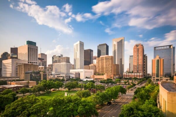 Skyline image of downtown Houston, Texas.