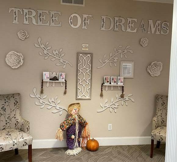 Tree of dreams display at a senior living community in San Antonio, Texas.