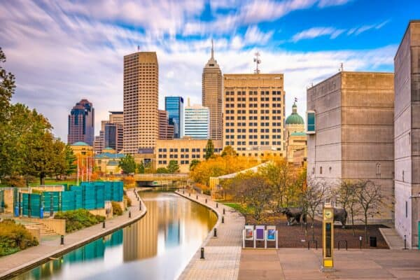 Indianapolis, Indiana, USA downtown skyline over the river walk
