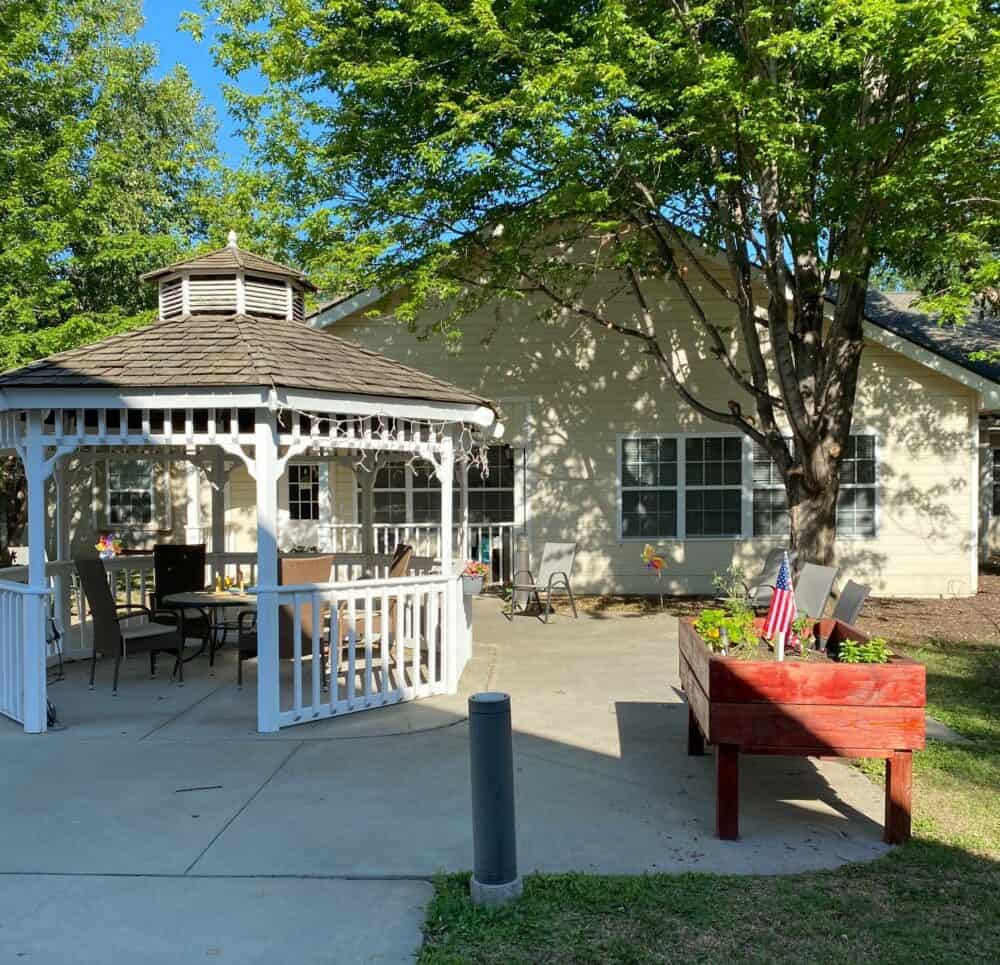 gazebo and resting area at marquis place of elkhorn, a senior community in nebraska