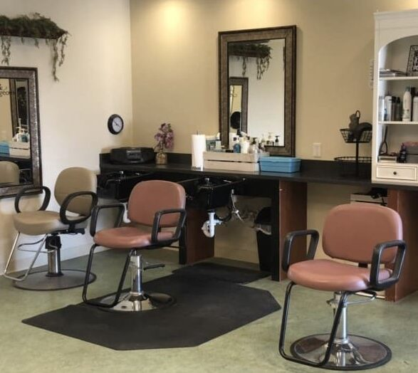 On-site beauty salon a senior living community in Dayton, Ohio with three salon chairs.