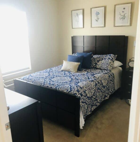 Senior apartment bedroom at a senior living community in Perrysburg, Ohio.