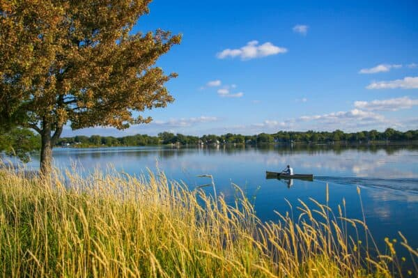 Canoeing on Lake Monona in Madison, Wisconsin.