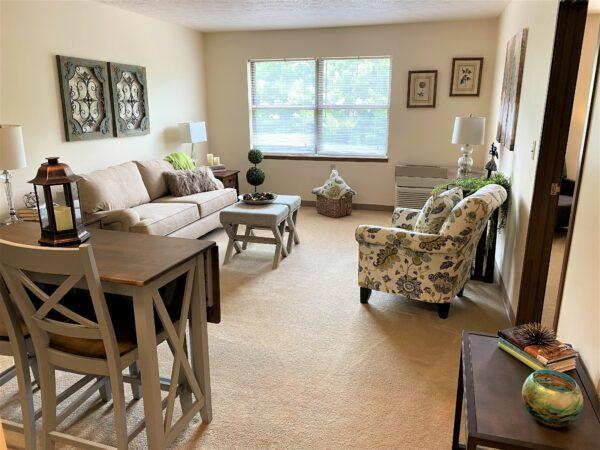 Model apartment living room at a senior living community in Canton, Ohio.