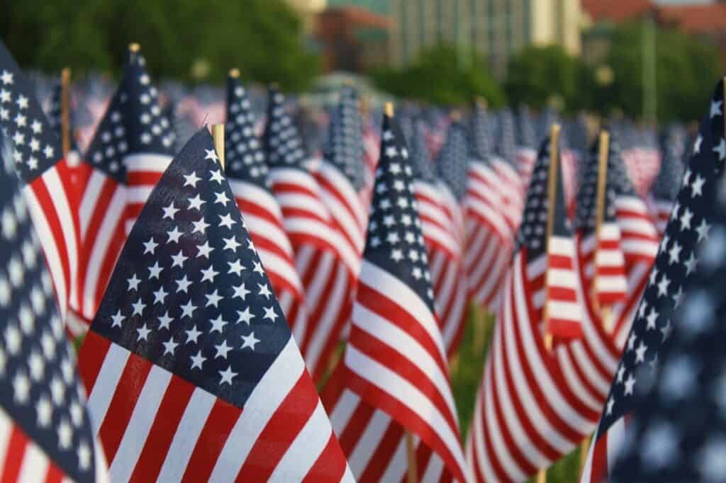 American flags adorn a lawn on Memorial Day.