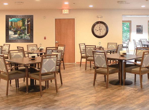 The entry into Brookview Meadows's elegant bistro and dining area at their senior living community in the Howard area of Green Bay, Wisconsin.